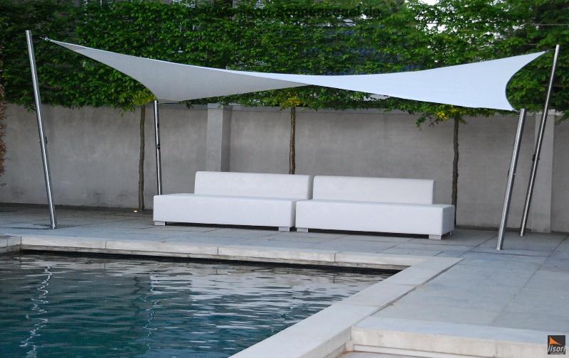 Referenzen bilder lisori sonnensegel design privatkunden for Sonnenschutz teich